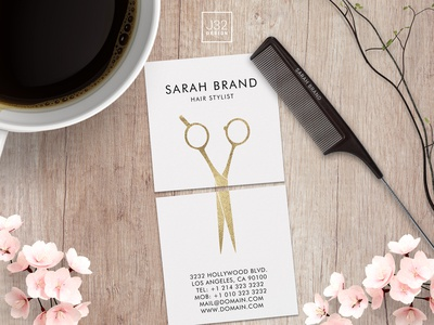 Square Hair Stylist Business Card