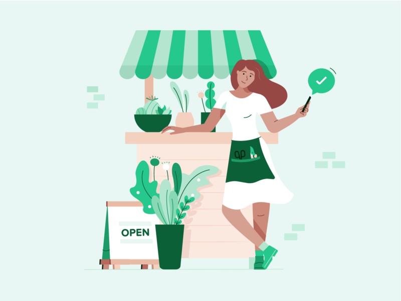 Small Business Owner approved business lady sign stall shop flowershop cactus plant pot plant floral flowers florist character illustration