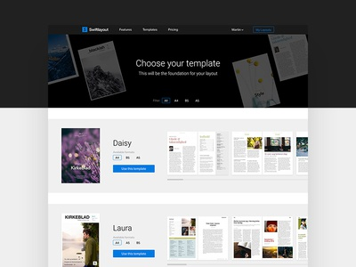Swiftlayout template page