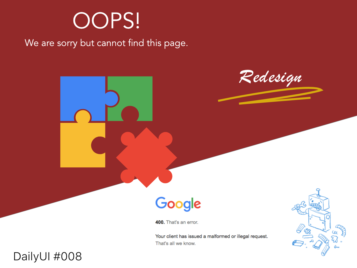 DailyUI Challenge! #008 - 404 PAGE redesign 404error 404 404 page dailyui