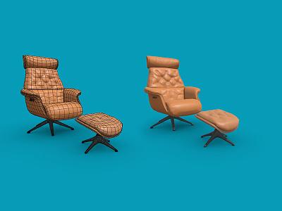 ArmChair-Footrest substance painter zbrush maya cinema4d render design furniture design chair armchair sketchfab lowpoly3d lowpoly low furniture 3d art 3d