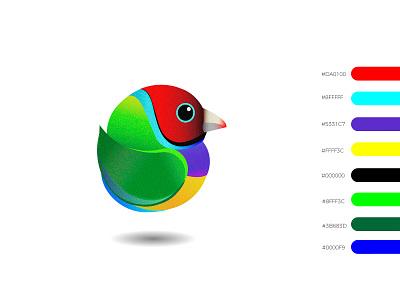 Gouldian finch logo bird bird logo full color colors design vector illustration
