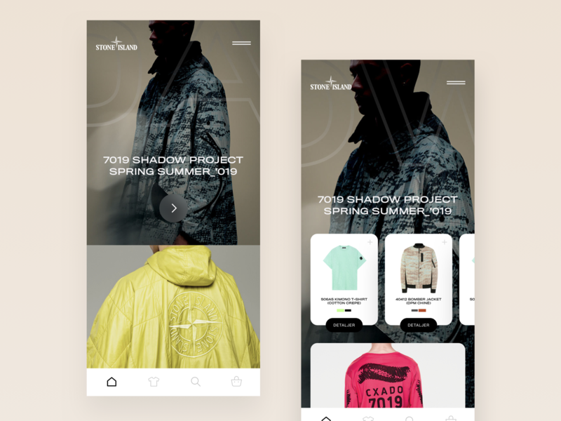 Stone Island Mobile Concept v2 clothing brand android ios mobile app product page ui mobile ui transitions animations product e-commerce mobile stone island mobile after effects