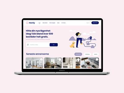 Hemly.se - Webb Design Frontpage house logo hemly home web design filter system memberstack agency realestate stockholm webflow klayo