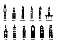 12 Minimalist Clock Towers - Free Illustration Set