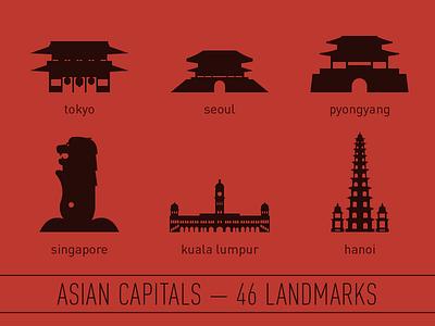 Asian Capitals - 46 Landmark Illustrations asia landmarks illustration icon minimalist vector set