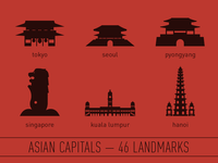 Asian Capitals - 46 Landmark Illustrations