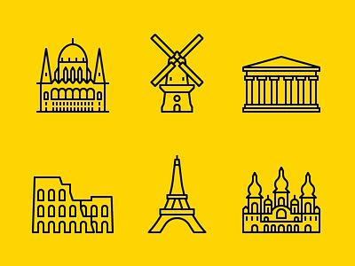 European Capitals - Landmark Icons landmarks icons icon set line outline