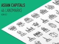Asian Capitals  -  Icon Set