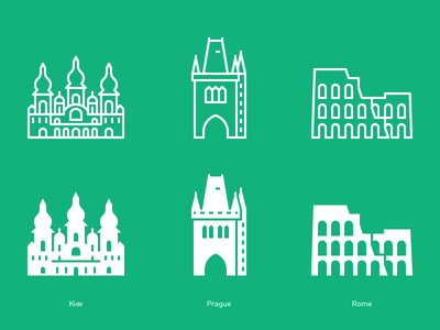 Kiev Prague Rome europe landicons flat icons outline line glyph