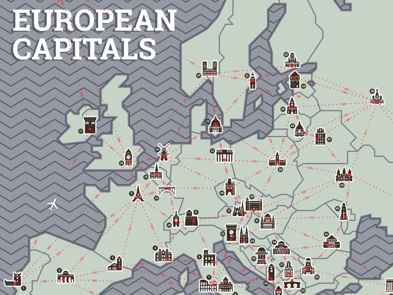 European Capitals Map by József Balázs-Hegedüs | Dribbble | Dribbble