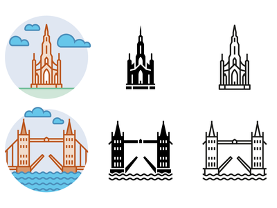 Filled Outline, Glyph, Outline united kingdom icons landicons landmarks
