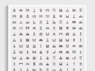 270 Landmark Icons - Outline historic landicons icons architecture landmarks