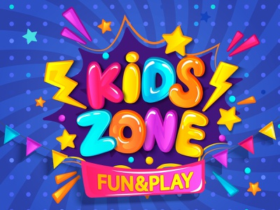 Kids Zone activity vector kids zone entertainment birthday playground happy cartoon banner playroom design children play party game zone poster logo fun kid