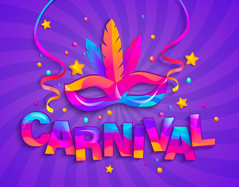 Carnival template flyer event confetti design feathers venice entertainment masquerade fun circus holiday party gradient parade festival masque mask carnaval carnival