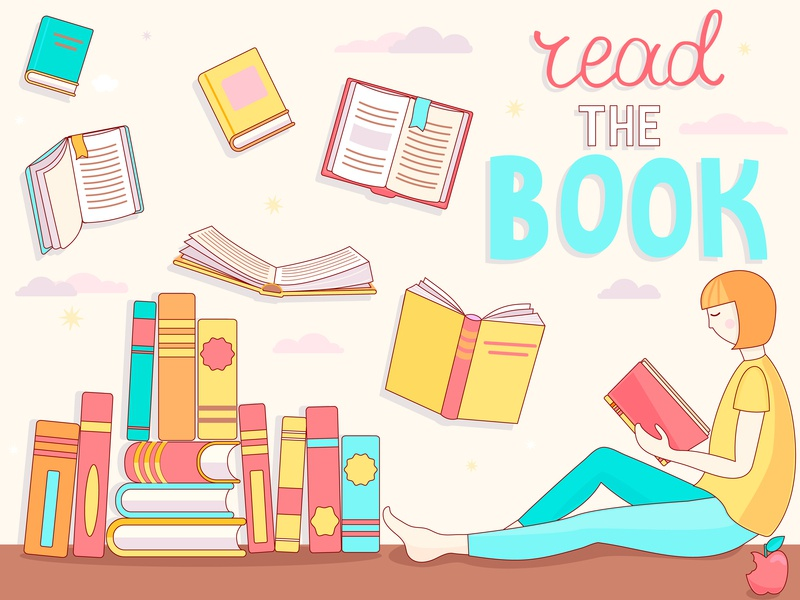 Read the book. textbook text collection leisure information literature knowledge education library bookstore open young relax learn student school read reading girl book
