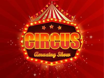 Circus emblem design cirque vintage emblem symbol logo sunburst welcome premiere retro template festival tent entertainment signboard funfair banner show carnival circus