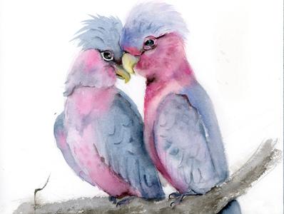 Birds in love - watercolor painting