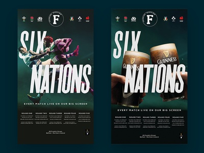 Franklins Six Nations drink guinness branding six nations poster sport belfast bar franklins