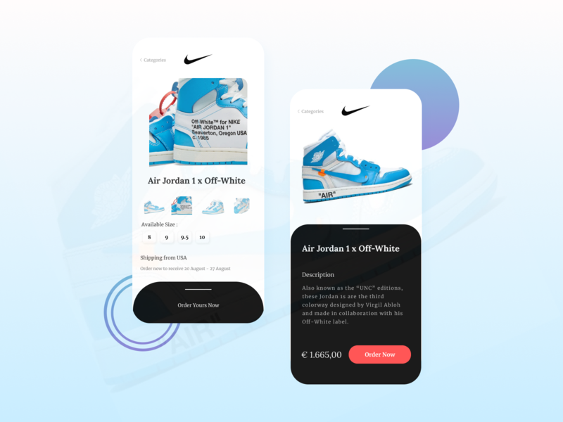 Sneakers Store - Mobile App UI Exploration blue mobile apps design air jordan nike online store mobile store store mobile uiux illustration indonesia designer sneakers mobile ui mobile apps mobile app freelancer