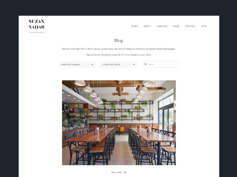 Suzan Najjar Blog photography layout typography ux ui web design blog design blog