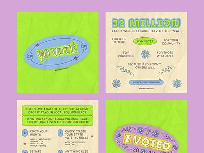 YO VOTÉ, I VOTED 2020 stickers election day voting vote latina latino latinx yo voté i voted typography branding graphic design graphic design