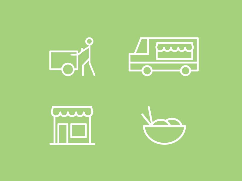 Food Vendors Icons Set