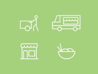 Food Vendors Icons Set