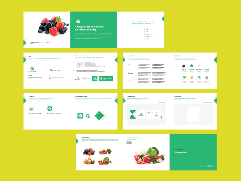 Epicure Style Guide design green food healthy branding style guide epicure