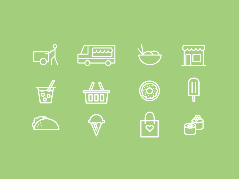 Food Vendors Icons Expanded