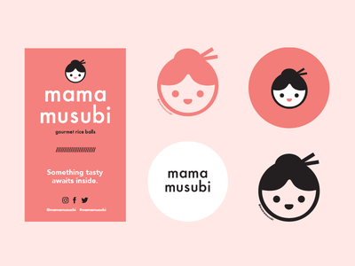 mama musubi labels delivery box cup creative direction graphic design design mama musubi food label package design packaging