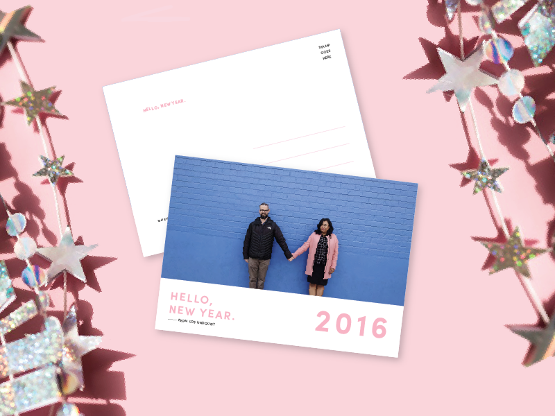 Hello, New Year 2016 graphic design print postcard new year minimal holiday happy new year design create 2016