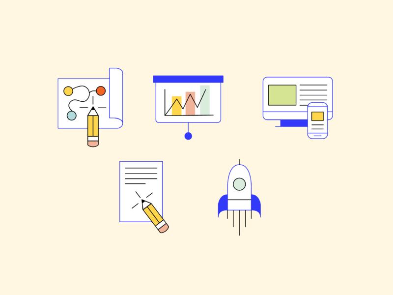 A Big Idea Iconography Set jumpstart copywriting strategy workshop illustration vector icons icon identity iconography graphic design branding graphic design