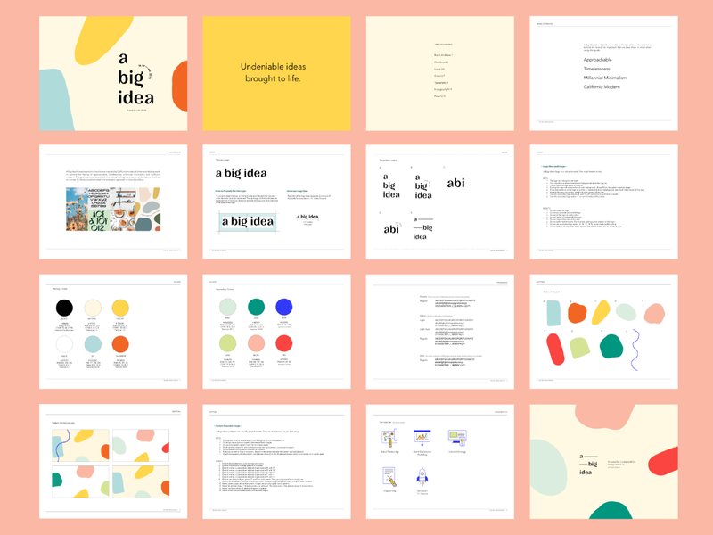 A Big Idea Brand Guide 2019 logotype pattern icon illustration iconography typography logo identity a big idea graphic design graphic design branding brand guidebook guideline guide