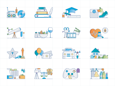 Icons for Various Hobbies events pop culture pop health food movies cooking science sport study writing reading music hobby hobbies illustrations icons iconography icon design icon