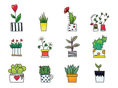 Plants make people happy искусство растения рисование иллюстратор книжная иллюстрация иллюстрация