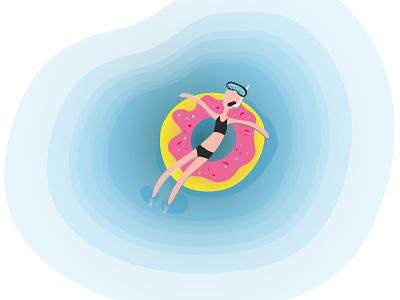 Swimming donut векторная иллюстрация иллюстратор дизайн книжная иллюстрация иллюстрация