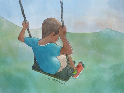 Summer Fun adobe cc kid art design summer boy character graphic photoshop water color illustration