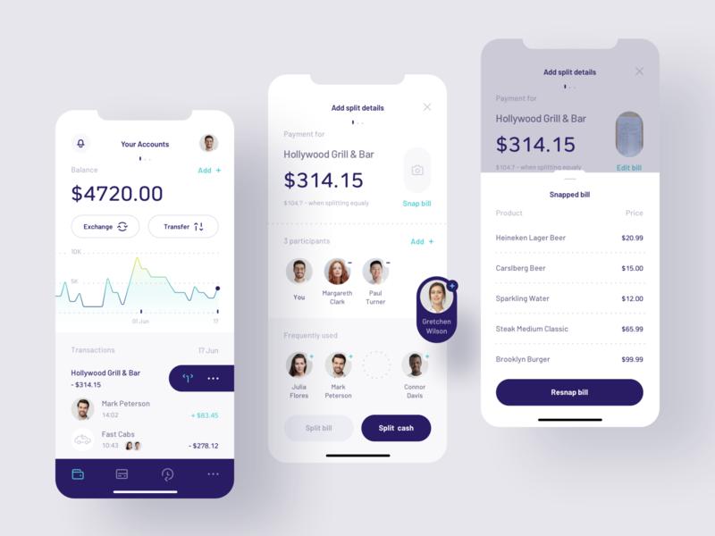 Payment Splitting app mobile ui mobile banking product design split payment payment split fintech finance design app ui design ux ui