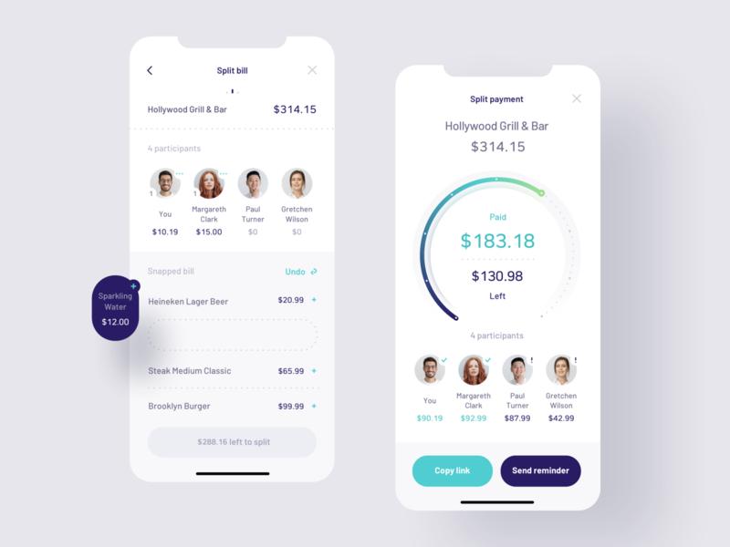 Payment Splitting app ui design split payment split payment mobile ui mobile ux ui fintech finance banking app