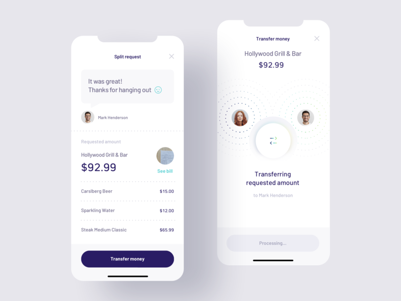 Payment Splitting app ui design design mobile ui payment split payment fintech finance banking mobile ux ui app