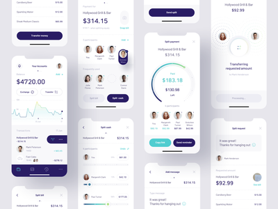 Payment Splitting app banking ui design split payment payment mobile ui fintech finance ui mobile app