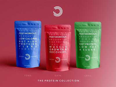 Bulk Powder Protein Packaging. protein bulk powders packaging gym food diet typography design branding