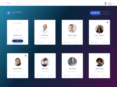 Dashboard. Team Members Page
