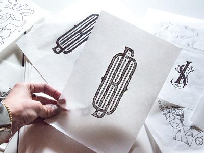Sketching ink sketch branding monogram design grid typography type monogram logo monogram logo logogrid grid logo design