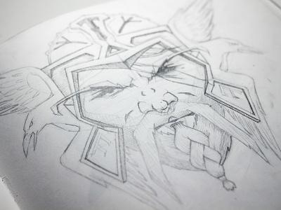 Odin north power force pencil art illustrator design crows warrior odin portafolio portait art illustration