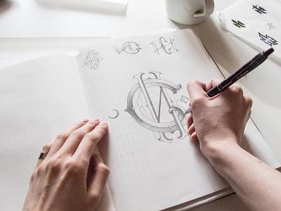 Monogram sketching art sketch identidad illustration monogram logo lettering agency monogram identity construction brand black logogrid minimal grid logo typography type logo design branding