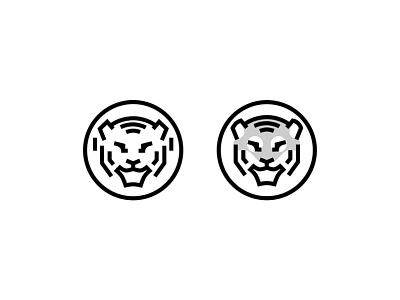Tiger logo design logotype symbol mark construction identity design minimal vector illustration logo branding
