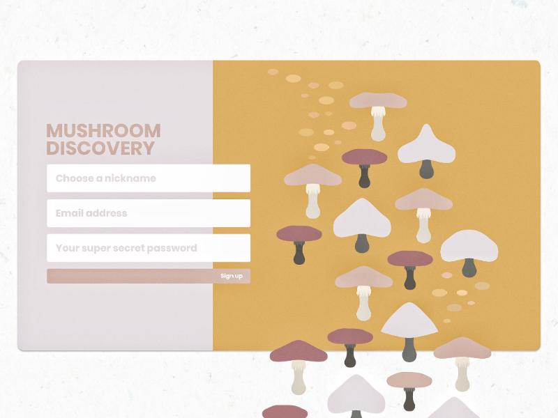 DailyUI - 001 - Sign up form mushroom illustration vector design-challenge interface adobe adobe-xd minimal design ui 001 dailyui