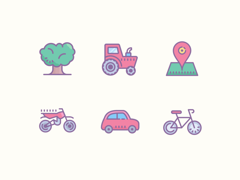Dusk Icons map pin village tree motocycle bicycle bike vehicle car point transport design stroke illustrator icons8 graphic  design illustration icons icon